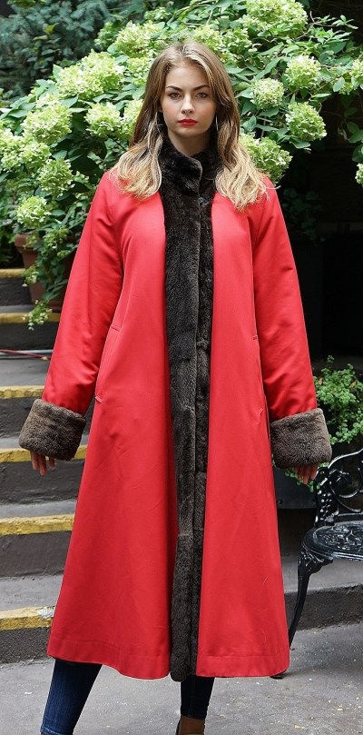 Red Gabardine Coat Sheared Nutria Reversible