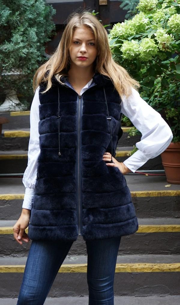 Navy Blue Rex Rabbit Vest Hooded