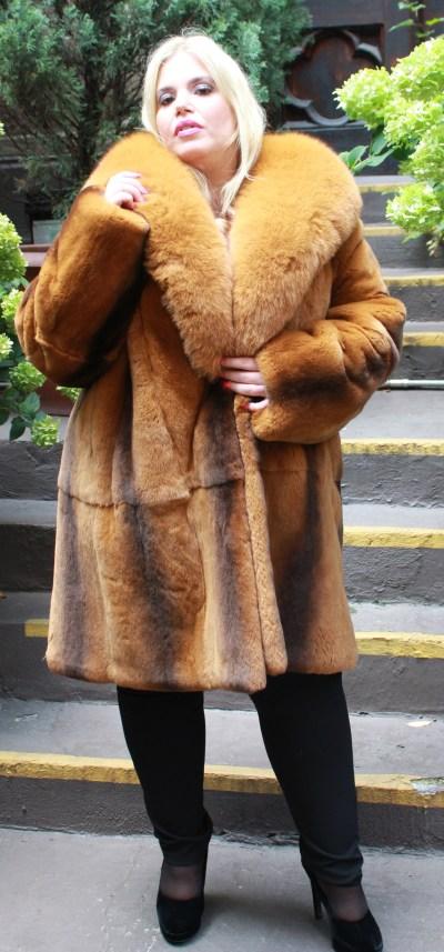 Plus Size Cognac Rex Rabbit Stroller Fox Collar