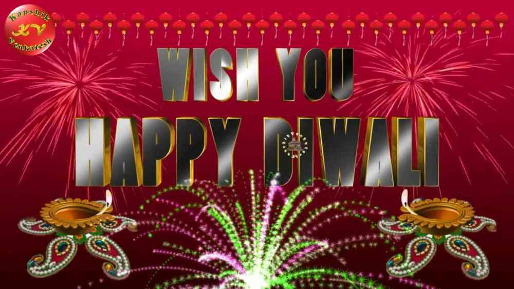 Happy Diwali Wishes Images (decorated with Rangoli, Diyas and Fireworks)and
