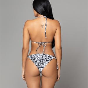Tango blanco y negro back leopard print bikini de dos piezas