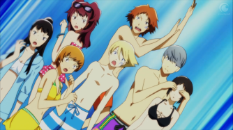 Seven characters, both male and female, from Persona 4 the Golden Animation wearing swimsuits.