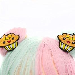 Kawaii Candy Corn Cupcake Hair Clips