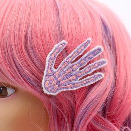Skeleton Hand Pastel Goth Hair Clips