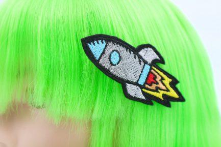 retro rocket ship Hair Clip