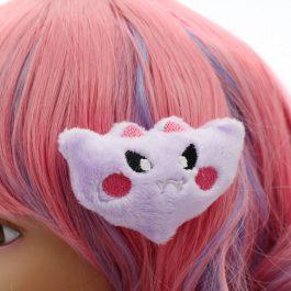 Kawaii Bat Plush Hair Clip – Lavender