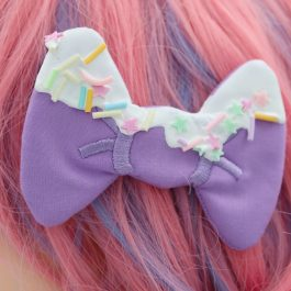 Decoden Frosted Bows For Girls Super Cute Kawaii Frosted Hair Clips – Lavender