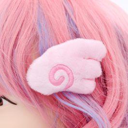 Kawaii Angel Wing Plush Hair Clip Set – Pink