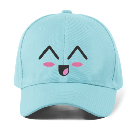 Kawaii Baseball Cap Laughing Face Embroidered Hat For Women – Blue
