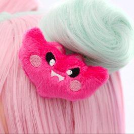 Kawaii Bat Plush Hair Clip – Hot Pink