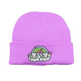 Kawaii Chibi Rainbow Cloud Beanie Hat – Lavender