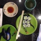Vegan sushi: kappa maki and nigiri with nasu no tsukemono