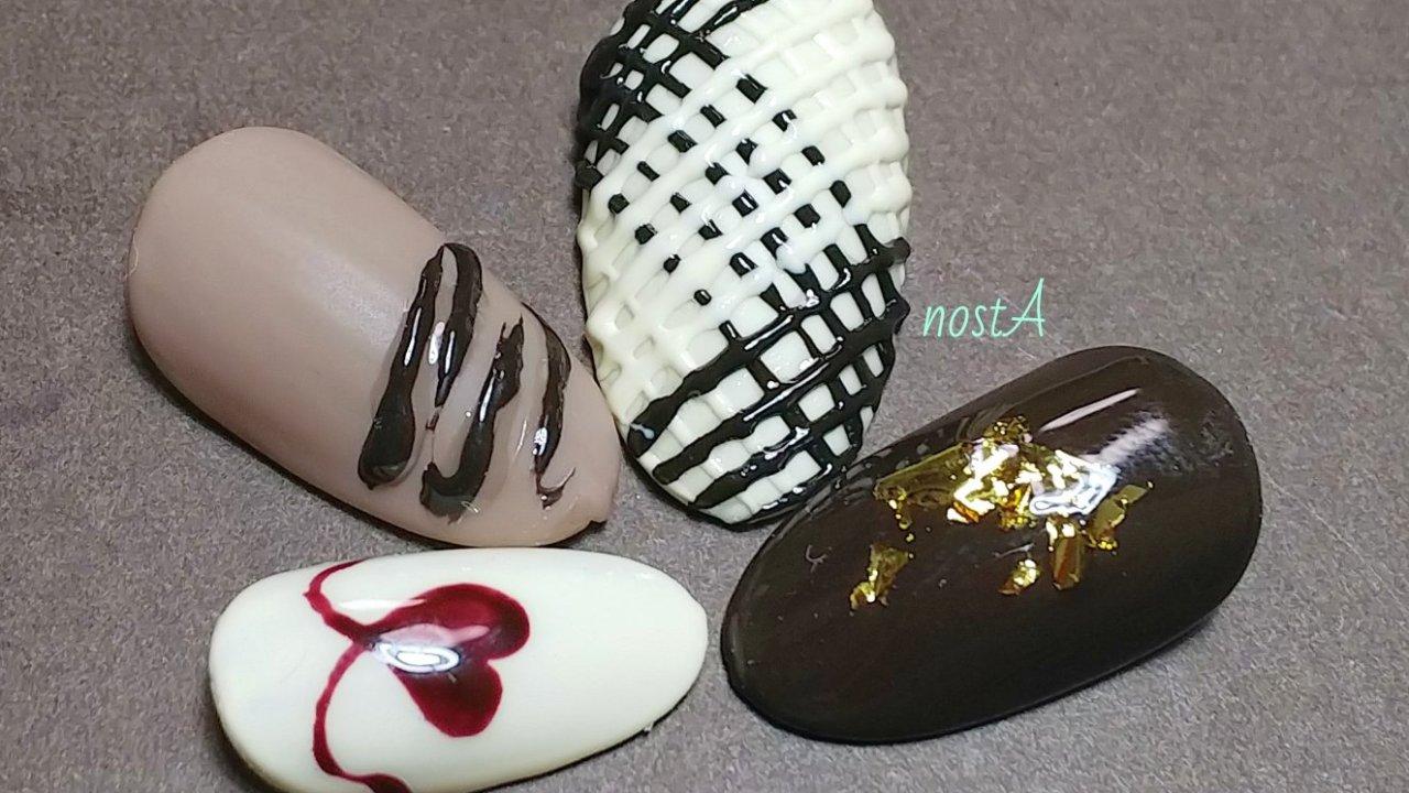 紗々ネイルとチョコレートネイルのサンプルチップ画像