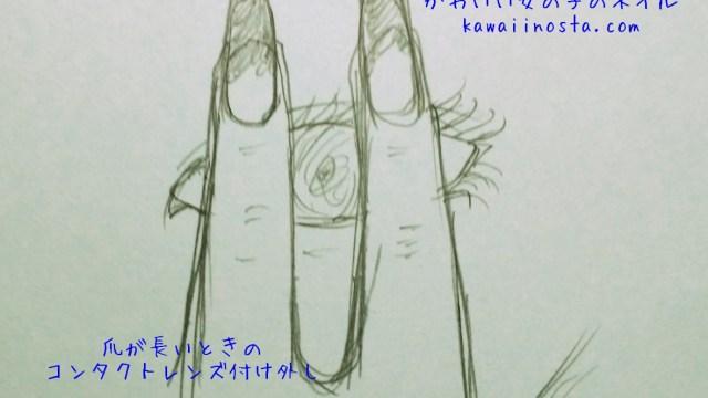 爪が長い時のコンタクトレンズの外し方の画像