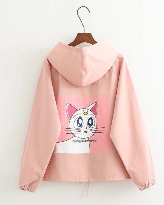 Artemis Sailor Moon cat pink jacket with hoodie
