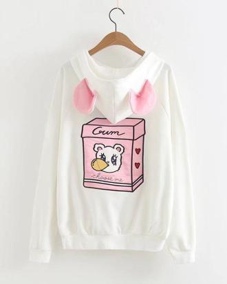 Gum Bear white sweater with ears