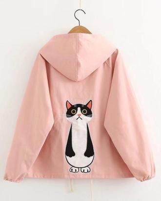 Cat white jacket with hoodie