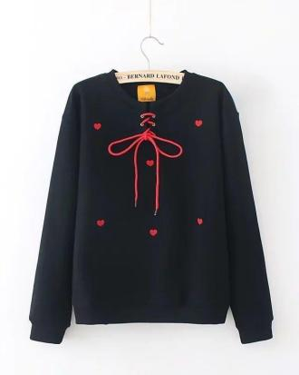 Black sweatshirt with red hearts