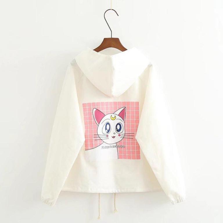 Chaqueta de Artemis de Sailor Moon blanca con capucha