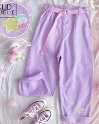 Pantalones lila anchos kawaii