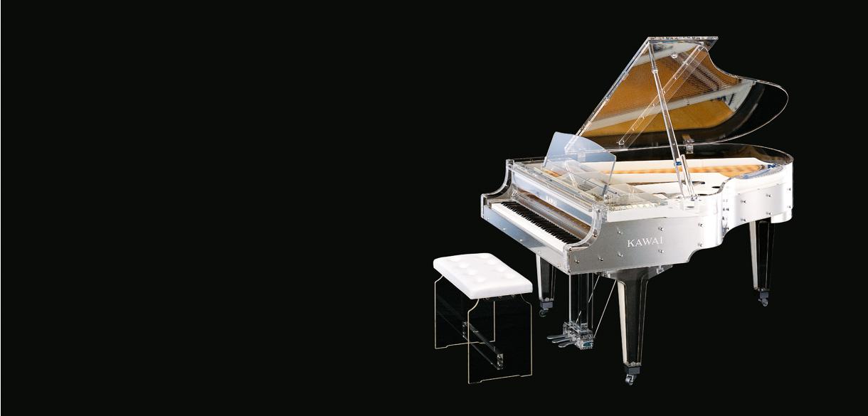Fabricación primer piano de cola transparente