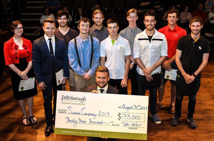 Students in the 2017 Summer Company program run through the Peterborough & the Kawarthas Economic Development Business Advisory Centre at a celebration at the Market Hall in Peterborough in August 2017. A total of 11 student entrepreneurs received $33,000 in grants to support their businesses. The deadline to apply for the 2018 Summer Company program is May 19, 2018.  (Photo courtesy of Peterborough & the Kawarthas Economic Development)