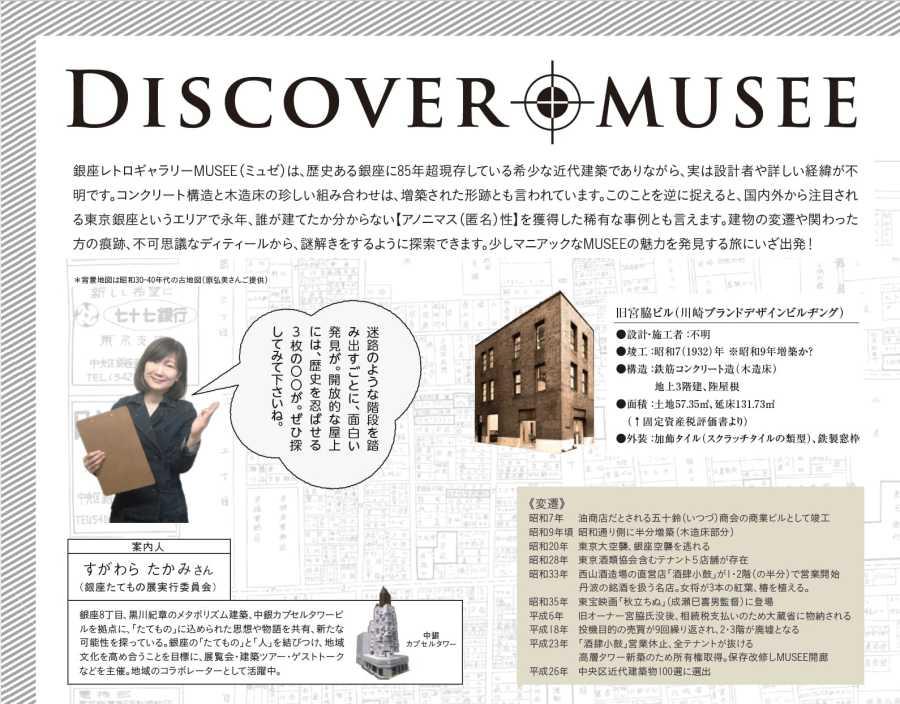 銀座レトロギャラリーMUSEE(ミュゼ)は、歴史ある銀座に85年超現存している希少な近代建築でありながら、実は設計者や詳しい経緯が不 明です。コンクリート構造と木造床の珍しい組み合わせは、増築された形跡とも言われています。このことを逆に捉えると、国内外から注目され る東京銀座というエリアで永年、誰が建てたか分からない【アノニマス(匿名)性】を獲得した稀有な事例とも言えます。建物の変遷や関わった 方の痕跡、不可思議なディティールから、謎解きをするように探索できます。少しマニアックなMUSEEの魅力を発見する旅にいざ出発!旧宮脇ビル(川崎ブランドデザインビルヂング) ●設計・施工者 :不明 ●竣工 :昭和7(1932)年 ※昭和9年増築か? ●構造 :鉄筋コンクリート造(木造床) 地上3階建、陸屋根 ●面積 :土地57.35㎡、延床131.73㎡  (↑固定資産税評価書より) ●外装 :加飾タイル(スクラッチタイルの類型)、鉄製窓枠 《変遷》 昭和7年 油商店だとされる五十鈴(いつづ)商会の商業ビルとして竣工 昭和9年頃 昭和通り側に半分増築(木造床部分) 昭和20年 東京大空襲、銀座空襲を逃れる 昭和28年 東京酒類協会含むテナント5店舗が存在 昭和33年 西山酒造場の直営店「酒肆小鼓」が1・2階(の半分)で営業開始      丹波の銘酒を扱う名店。女将が3本の紅葉、椿を植える。 昭和35年 東宝映画「秋立ちぬ」(成瀬巳喜男監督)に登場 平成6年 旧オーナー宮脇氏没後、相続税支払いのため大蔵省に物納される 平成18年 投機目的の売買が9回繰り返され、2・3階が廃墟となる 平成23年 「酒肆小鼓」営業休止、全テナントが抜ける      高層タワー新築のため所有権取得。保存改修しMUSEE開廊 平成26年 中央区近代建築物100選に選出 すがわら たかみさん (銀座たてもの展実行委員会) 銀座8丁目、黒川紀章のメタボリズム建築、中銀カプセルタワービ ルを拠点に、「たてもの」に込められた思想や物語を共有、新たな 可能性を探っている。銀座の「たてもの」と「人」を結びつけ、地域 文化を高め合うことを目標に、展覧会・建築ツアー・ゲストトーク などを主催。地域のコラボレーターとして活躍中。