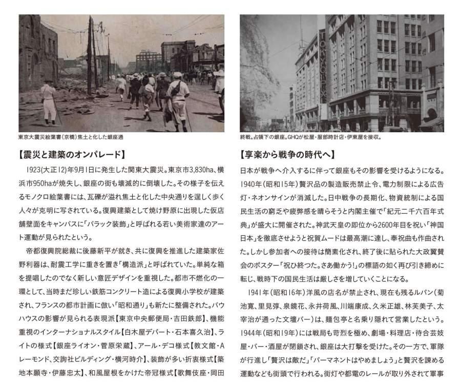 """震災復興とモダニズム建築のオンパレード 1923(大正12) 年9月1日に発生した関東大震災。東京市3,830ha、横浜市950ha が焼失し、銀座の街も壊滅的に倒壊した。その様子を伝えるモノクロ絵葉書には、瓦礫が溢れ焦土と化した中央通りを逞しく歩く人々が克明に写されている。復興建築として焼け野原に出現した仮店舗壁面をキャンバスに「バラック装飾」と呼ばれる若い美術家達のアート運動が見られたという。 帝都復興院総裁に後藤新平が就き、共に復興を推進した建築家佐野利器は、耐震工学に重きを置き「構造派」と呼ばれていた。単純な箱を提唱したのでなく新しい意匠デザインを重視した。都市不燃化の一環として、当時まだ珍しい鉄筋コンクリート造による復興小学校が建築され、フランスの都市計画に倣い「昭和通り」も新たに整備された。バウハウスの影響が見られる表現派【東京中央郵便局・吉田鉄郎】、機能重視のインターナショナルスタイル【白木屋デパート・石本喜久治】、ライトの様式【銀座ライオン・菅原栄蔵】、アール・デコ様式【教文館・Aレーモンド、交詢社ビルディング・横河時介】、装飾が多い折衷様式【築地本願寺・伊藤忠太】、和風屋根をかけた帝冠様式【歌舞伎座・岡田信一郎】など、モダニズムな建築空間が一斉に生み出されることになったのだ。 1924 年(大正13 年)松坂屋を皮切りに、松屋、三越が進出。銀座は東京随一の商業地になる。百貨店は次々と新機軸を打ち出し、それまでの慣例だった下足預かりの廃止し、バス送迎、くじ景品、ヒョウやライオンがいる動物園、水族館など、新商法で競い合い話題をさらう。新進気鋭の商人も、ショーウィンドウを設けた高級商店や専門店が立ち並び、「銀ブラ」=街歩きができる空間が誕生した。モダンライフを謳歌する人々が集まり、モガ(モダンガール)とモボ(モダンボーイ)のファッションは最先端を行くものだった。女性は洋服、洋髪、男性は青いスーツに派手なネクタイできめ、映画館や喫茶店での優雅な休日を楽しんだ。コーヒー一杯10銭、映画の入場料金40銭、パーマネント代が20円、銀行大卒主任給70円の時代。ダンスホールで遊び、西洋のスポーツを、カフェーでは世界各国の酒が揃いアイスクリームやケーキも嗜んだ。意匠を凝らした気品ある店舗、美しさが街路にも溢れる。銀座を憧れの街とし「フォーマルに決めて小粋に遊ぶ」流儀、古きを守り新しきを生み出す風土が生まれた。それらは現代の銀座に継承されている。享楽から戦争の時代へ 日本が戦争へ介入するに伴って銀座もその影響を受けるようになる。1940 年(昭和15 年)贅沢品の製造販売禁止令、電力制限による広告灯・ネオンサインが消滅した。日中戦争の長期化、物資統制による国民生活の窮乏や疲弊感を晴らそうと内閣主催で「紀元二千六百年式典」が盛大に開催された。神武天皇の即位から2600年目を祝い「神国日本」を徹底させようと祝賀ムードは最高潮に達し、奉祝曲も作曲された。しかし参加者への接待は簡素化され、終了後に貼られた大政翼賛会のポスター「祝ひ終つた。さあ働かう!」の標語の如く再び引き締めに転じ、戦時下の国民生活は厳しさを増していくことになる。 1941 年(昭和16 年)洋風の店名が禁止され、現在も残るルパン(菊池寛、里見弴、泉鏡花、永井荷風、川端康成、久米正雄、林芙美子、太宰治が通った文壇バー)は、麺包亭と名乗り隠れて営業したという。1944 年(昭和19 年)には戦局も苛烈を極め、劇場・料理店・待合芸妓屋・バー・酒屋が閉鎖され、銀座は大打撃を受けた。その一方で、軍隊が行進し「贅沢は敵だ」「パーマネントはやめましょう」と贅沢を諫める運動なども街頭で行われる。街灯や都電のレールが取り外されて軍事物資に提供され、歌舞伎座も休場を命じられ、昭和通りは芋畑に変わった。1945年(昭和20年)1月、泰明小学校にも撃弾が落とされ、その後、度重なる空襲を受け全域が焼き尽くされることとなった。 終戦まもなく、GHQ(連合軍総司令部)が服部時計店、松屋、伊東屋をPX として接収。PX とは""""Post Exchange"""" の略で、米軍基地内の売店を指し、日本人客は立ち入れないアメリカ軍人と家族のための店舗。解除されるまでの7年間、軍服を着た軍人が溢れ、英語の道路標識が建てられ、銀座はインターナショナルな街となった。GHQ接収をされた松屋を写した絵葉書では、外壁の縦看板に大きくTOKYO PXと掲げられた様子が見て取れる。隣の伊東屋もクラシカルな外観。天井高が高い建築がPXに選ばれたとする説もある。 1947年(昭和22年)服部時計店の小売業務を継承し、銀座和光が設立。接収解除を記念し始まった、ショーウィンドウディスプレイでは当時気鋭の原弘、亀倉雄策、伊藤憲治らが競作。"""