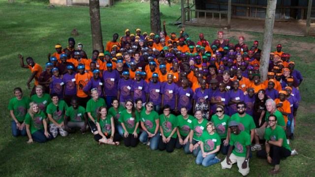 With Peace Corp Uganda Volunteers and Campers during Camp GLOW and BUILD 2013.