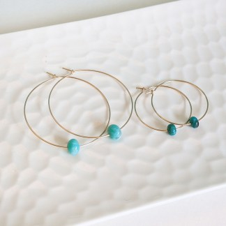 Large 14K Gold Fill Hoop and Peruvian Amazonite Bead Earrings
