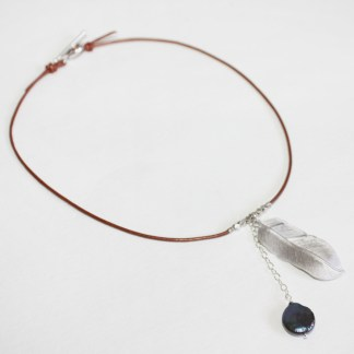 Thai Karen Silver Beads, Freshwater Pearl and Silver Feather Leather Cord Choker