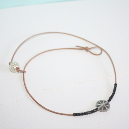 Silver Star Leather Necklace