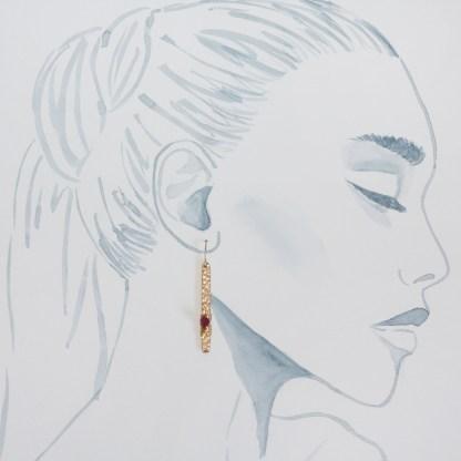 ruby textured bar earrings