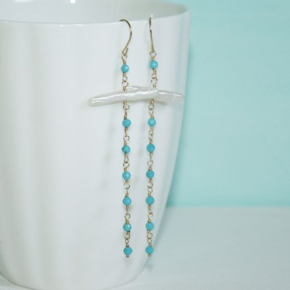 Turquoise and Stick Pearl Drop Earrings