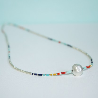 Puffed Hexagon Bead Necklace