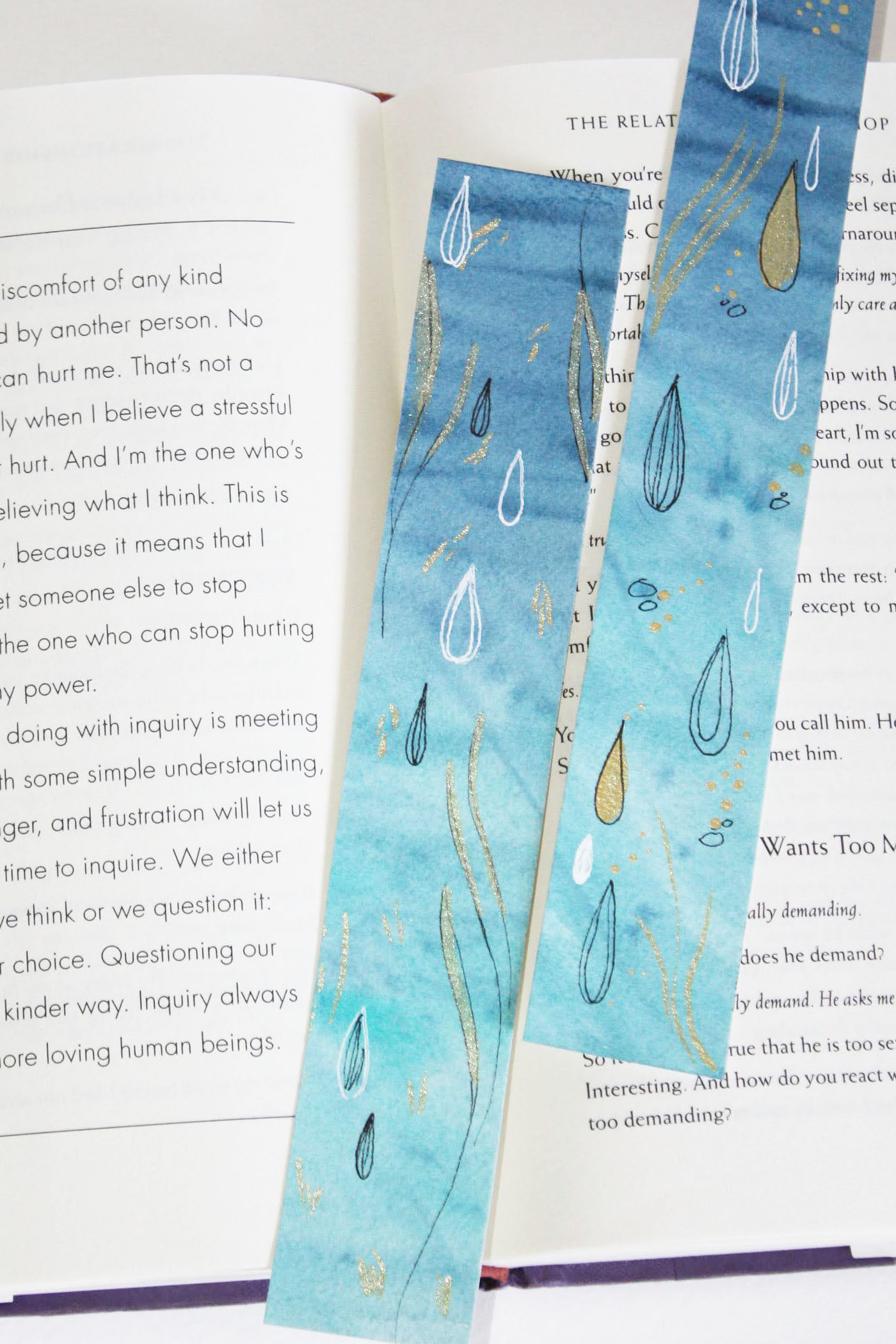 Watercolor Bookmarks Drops