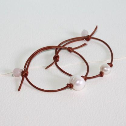 Large Pearl Leather Bracelet