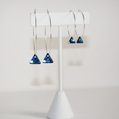 Large Swarovski Crystal Silver Night Triangle Sterling Silver Hoops
