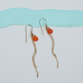 Orange-Carnelian-Dangling-Chain-Gold-Fill-Earrings