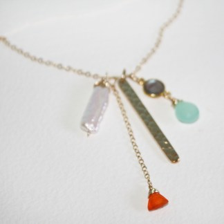 Carnelian, Seafoam Chalcedony, Labradorite, Freshwater Pearl and Textured Bar 14K Gold Fill Necklace