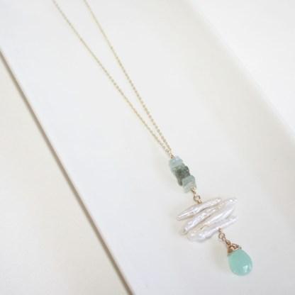 Peruvian Chalcedony and Aquamarine Necklace
