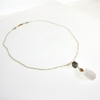 Crystal-Quartz-Pyrite-Faceted-Brass-Bead-Gold-Fill-Y-Necklace