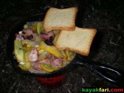Octopus, zuchinni, onion, garlic with mini-toast