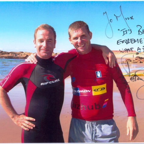 Mick with Extreme Fishing presenter Robson Green after a day out at Scottburgh