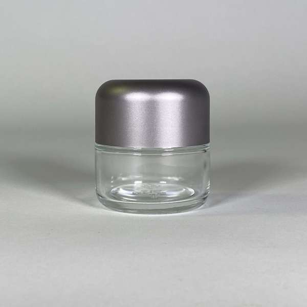 Jars for Cannabis Packaging, Clear Body Silver Top