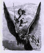 FLAGA - A Scandinavian fairy, though some claim she was only a magician who rode on an eagle.