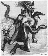 HABORYM - A fire demon and a duke of hell. He appears holding a torch and riding a viper and he has 3 heads: a serpent, a man, and a cat.