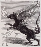 MARCHOCIAS - Appears as a she-wolf with griffin wings and a serpent's tail, and spit flames. In human form, Marchocias appears as a grand soldier. He obeys exorcists and the domination of angels.