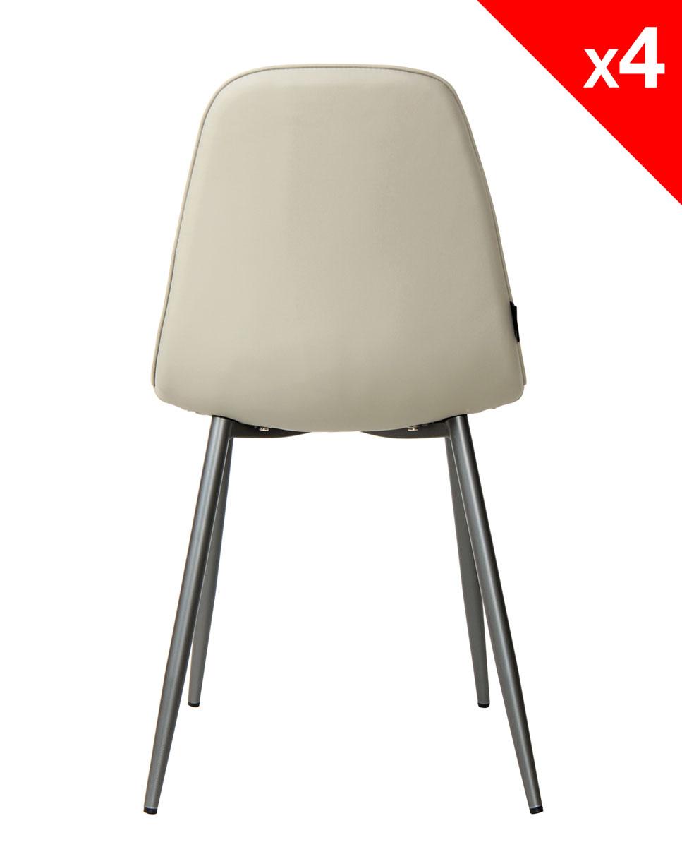 lot de 4 chaises design tissu et metal roxy