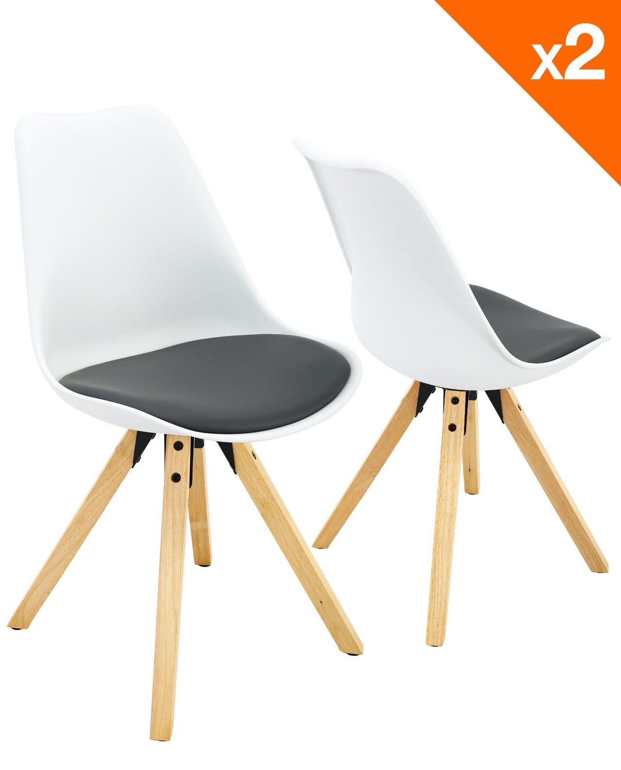 chaises scandinave clea lot de 2 chaises cuisine salle a manger blanc et